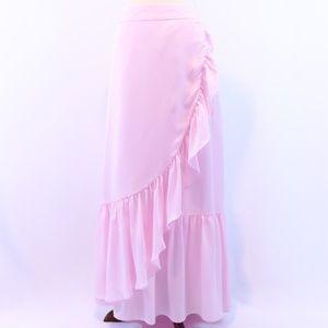 Kaari Blue Curve Pink Ruffle Gypsy Boho Maxi Skirt